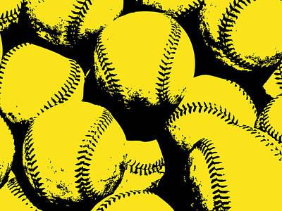 Baseball Art Digital Art - Baseball Pop Art Yellow by Flo Karp