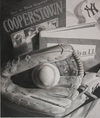 Cooperstown Drawing - Baseball Still Life by Melissa Unruh