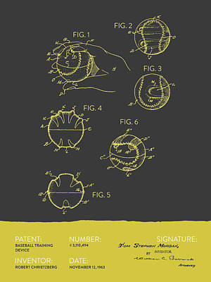 Baseball Drawing - Baseball Training Device Patent From 1963 - Gray Yellow by Aged Pixel