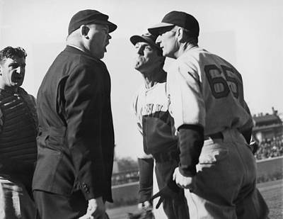 Umpire Photograph - Baseball Umpire Dispute by Underwood Archives
