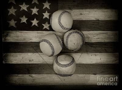 Folk Art American Flag Photograph - Baseball Usa In Black And White by Paul Ward