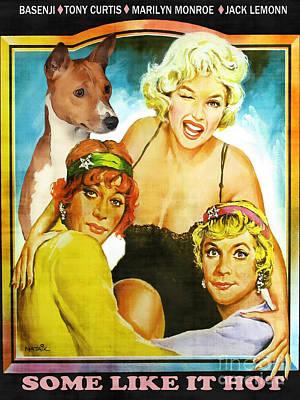 Basenji Art Canvas Print - Some Like It Hot Movie Poster Print by Sandra Sij