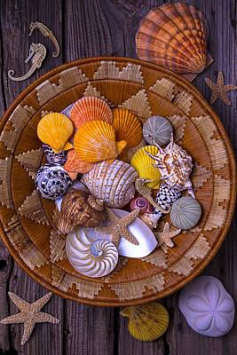 Basket Full Of Seashells Print by Garry Gay