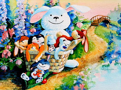 Illustration For Childrens Book Painting - Basket Of Bunnies by Hanne Lore Koehler