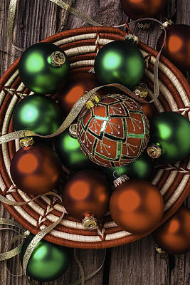 Basket Of Christmas Ornaments Print by Garry Gay