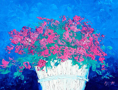 Interior Still Life Painting - Basket Of Flowers by Jan Matson