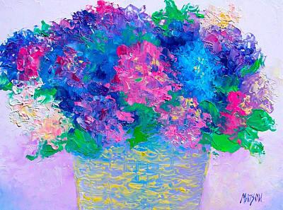 Interior Still Life Painting - Basket Of Hydrangeas by Jan Matson