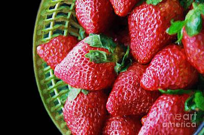 Basket Of Strawberries Print by Andee Design