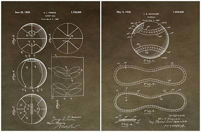 Sports Mixed Media - Basketball Baseball Patent 2 by Dan Sproul