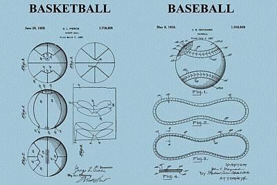 Basketball Baseball Patent Blue Print by Dan Sproul