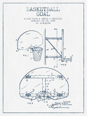 Basketball Drawing - Basketball Goal Patent From 1944 - Blue Ink by Aged Pixel