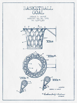 Basketball Drawing - Basketball Goal Patent From 1951 - Blue Ink by Aged Pixel