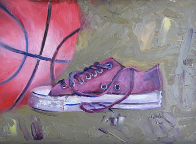 Basketball In Purple Chucks Original by Vicki Ross