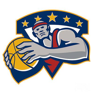 African-american Digital Art - Basketball Player Holding Ball Star Retro by Aloysius Patrimonio