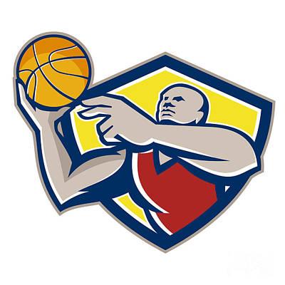 African-american Digital Art - Basketball Player Laying Up Ball Retro by Aloysius Patrimonio