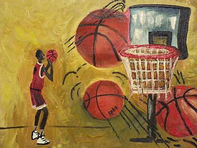 Basketball Abstract Painting - Basketball by Reba Baptist