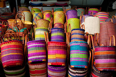 Baskets For Sale In A Market Print by Panoramic Images