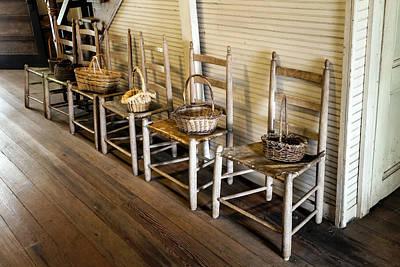 Baskets On Ladder Back Chairs Print by Lynn Palmer