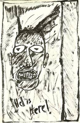 Basquiat Drawing - Basquiat - Hell Here 11-004 by Mario Perron