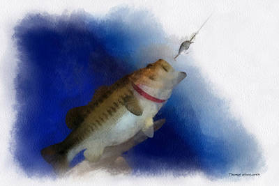 Large Mouth Bass Digital Art - Bass Fishing 01 Photo Art by Thomas Woolworth