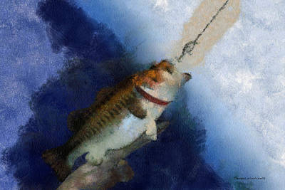 Large Mouth Bass Digital Art - Bass Fishing 03 Photo Art by Thomas Woolworth