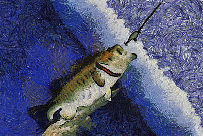 Large Mouth Bass Digital Art - Bass Fishing 04 Photo Art by Thomas Woolworth