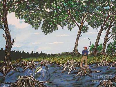 Bass Fishing In The Stumps Print by Jeffrey Koss