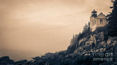 Desert Island Photograph - Bass Harbor Light House Mount Desert Island Maine by Edward Fielding