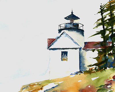 Maine Lighthouses Painting - Bass Harbor Lighthouse by William Beaupre