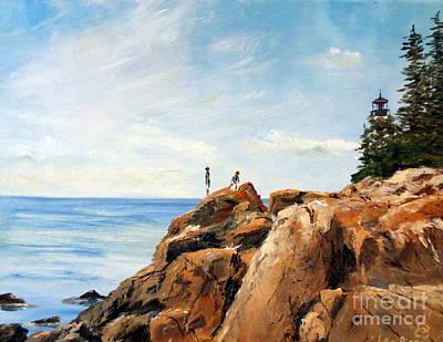 Bass Harbor Rocks Original by Lee Piper