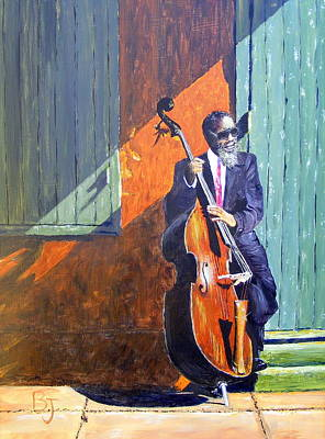 New Orleans Oil Painting - Bass Player In New Orleans by Barbara Jacquin