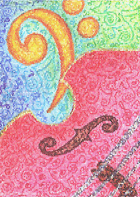 Bass Mixed Media - Bass Swirl Mosaic by Lisa A Bello