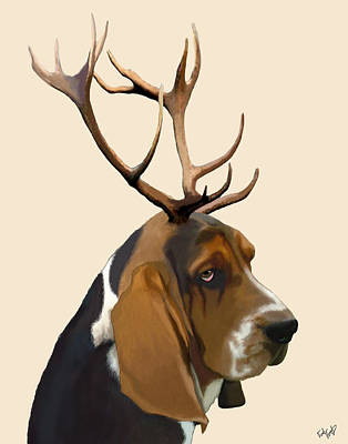 Basset Hound With Antlers Print by Kelly McLaughlan