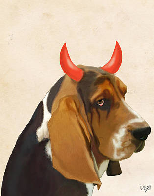 Basset Hound With Devil Horns Print by Kelly McLaughlan