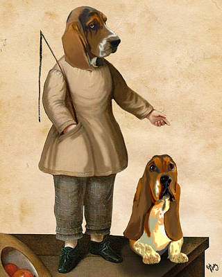 Basset Hounds Two Basset Hounds Print by Kelly McLaughlan