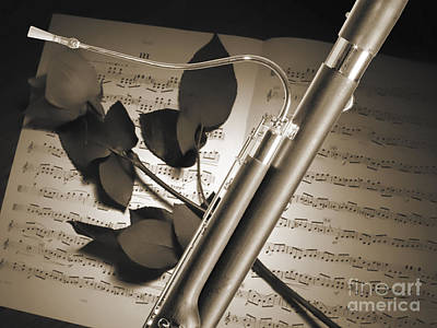 Bassoon Music Instrument Photograph In Sepia 3406.01 Print by M K  Miller