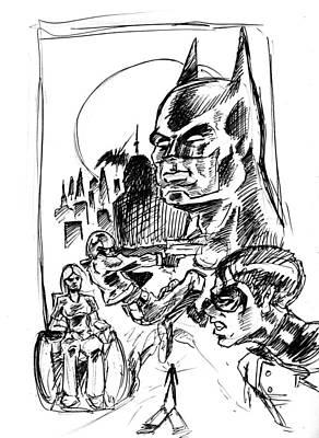 Drawing - Batan Vs The Red Hood by Big Mike Roate