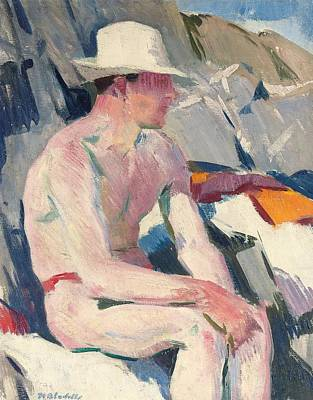 Bather In A White Hat Print by Francis Campbell Boileau Cadell