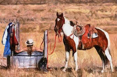 Cowgirls Painting - Bathing Cowgirl by Murphy Elliott