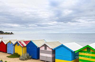 Bathing Huts Brighton Beach Melbourne Australia Print by Colin and Linda McKie