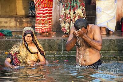 Bathing In The Ganges Print by Tony Camacho