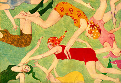 Red Painting - Bathing Beauties Swimmers - At The Beach America by Private Collection