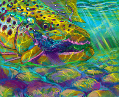 Brook Trout Digital Art - Bathing The Mouse  by Yusniel Santos