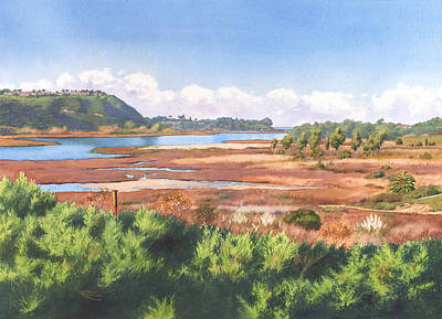 Carlsbad Painting - Batiquitos Lagoon Carlsbad California by Mary Helmreich