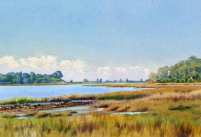 Marshes Painting - Batiquitos Lagoon Marshland by Mary Helmreich