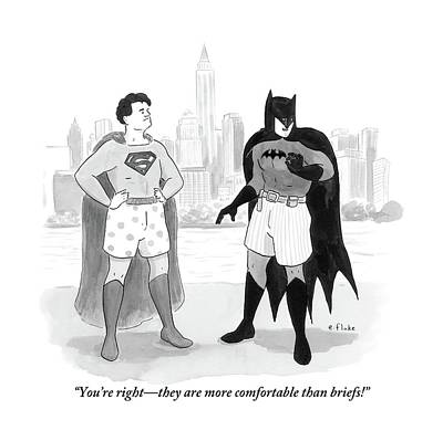 Batman And Superman Stand In Boxers Print by Emily Flake
