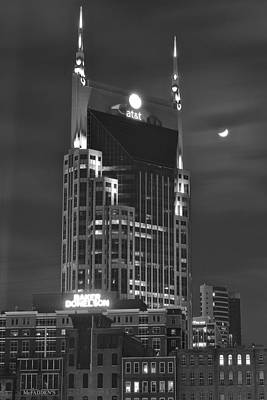 Cumberland River Photograph - Batman Building Complete With Bat Signal by Frozen in Time Fine Art Photography