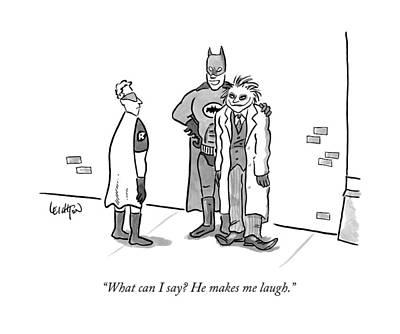 Comic Books Drawing - Batman, With His Arm Around The Joker, Speaking by Robert Leighton