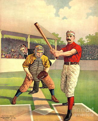 Home Plate Photograph - Batter Up 1895 by Padre Art