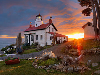 Best Ocean Photograph - Battery Point Lighthouse by Leland D Howard